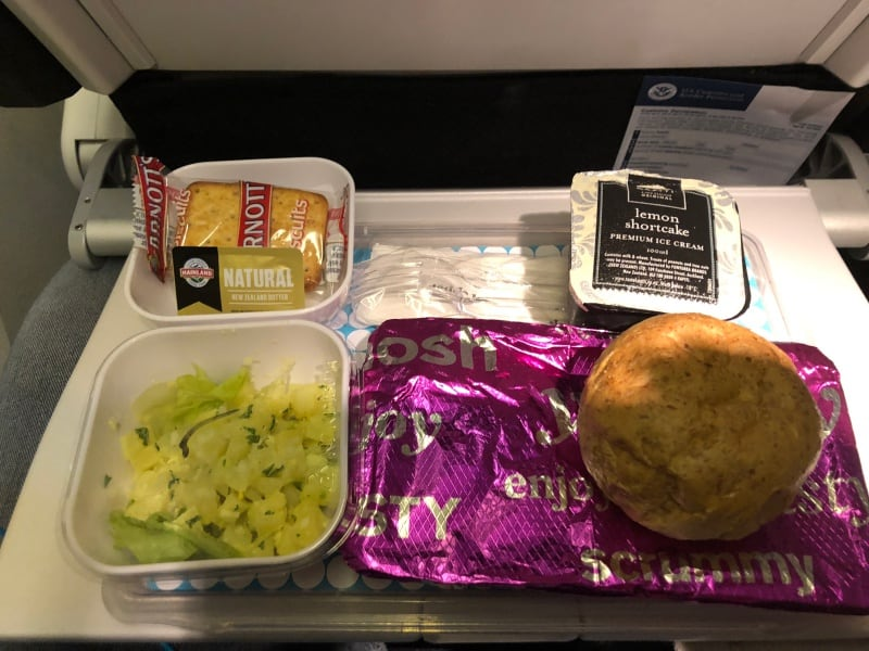 Air NZ Skycouch dinner.