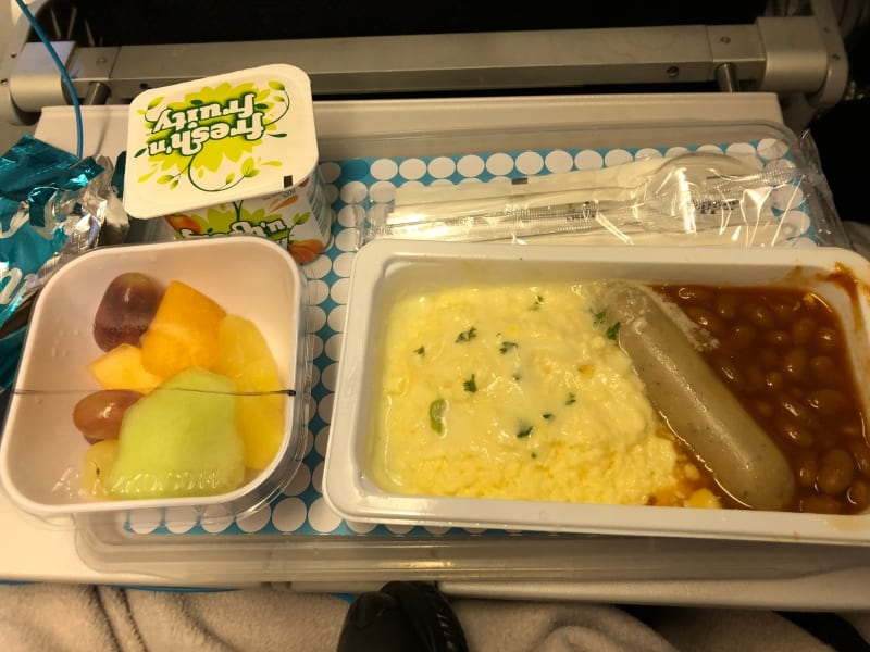 Air NZ Skycouch breakfast.