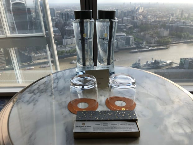 Shangri-la Hotel at The Shard London - complimentary water & chocs