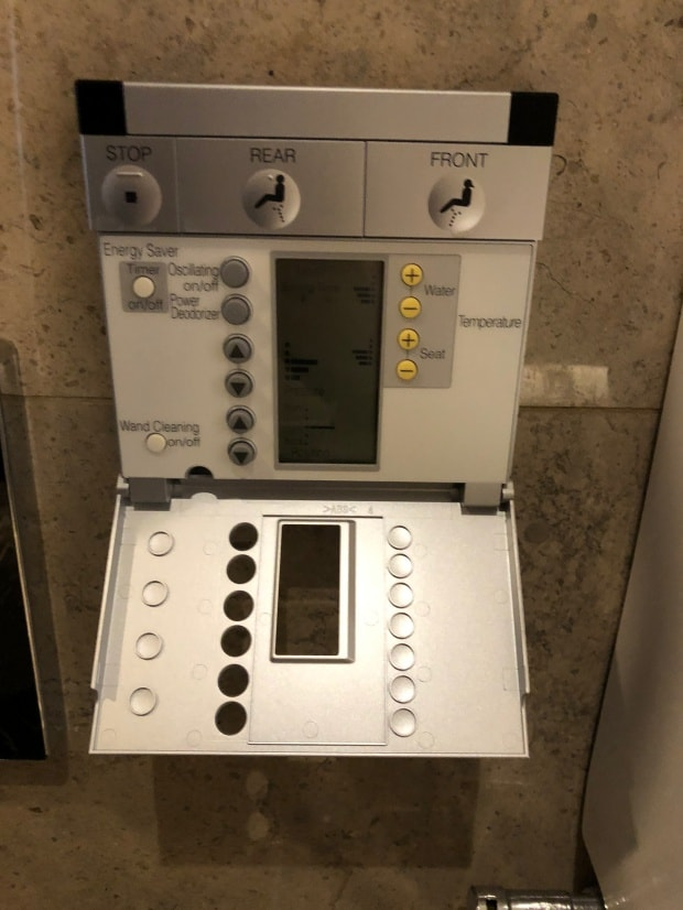 Shangri-la Hotel at The Shard London - control panel for multi-functional toilet.