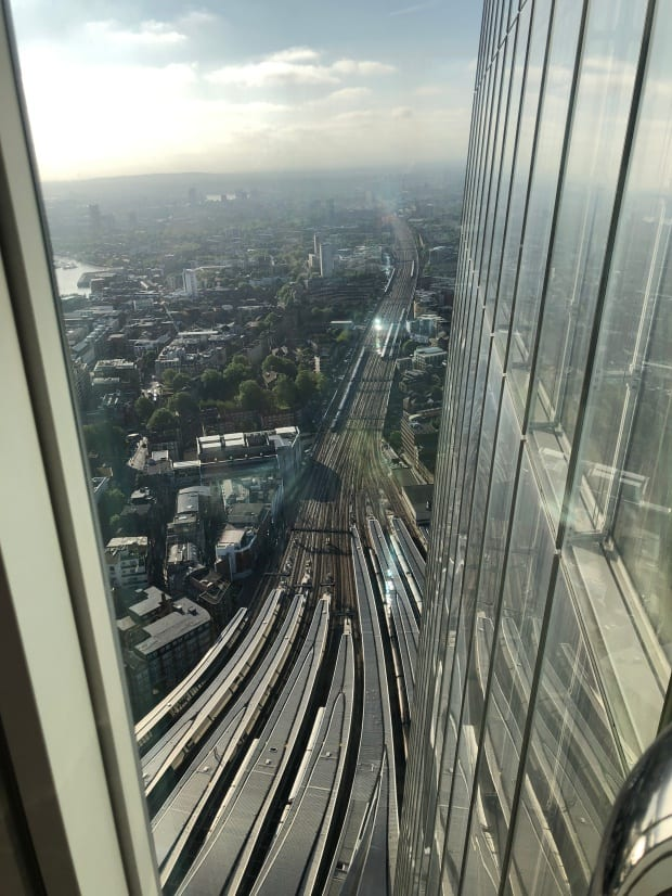 Shangri-la Hotel at The Shard London - Sky Pool 52nd floor, view of trains.